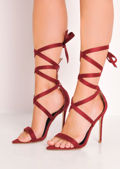 Pointed Lace Up Stiletto High Heeled Sandals Berry Red