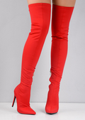 Pointed Over The Knee Lycra Stiletto Heeled Boots Red