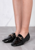 Pointed Patent Gold D Ring Detail Slip On Flat Shoe Black
