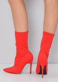 Pointed Stiletto Heeled Ankle Boot Red