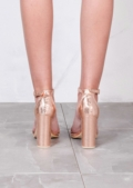 Pointed Strappy Chunky Heeled Sandals Rose Gold