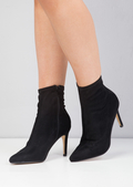 Pointed Toe Heeled Shoe Boot Faux Suede Black