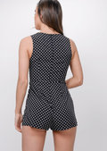 Polka Dot Button Front Playsuit Black