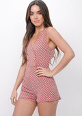 Polka Dot Button Front Playsuit Pink