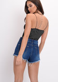 Polka Dot Cami Crop Top Black