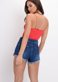 Polka Dot Cami Crop Top Red