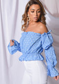 Polka Dot Frill Bardot Tiered Sleeve Crop Top Blue