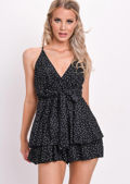 Polka Dot Frill Deep V Neck Playsuit Black