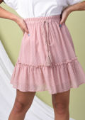 Polka Dot Frill Hem Elasticated Ruffle Mini Skirt Pink