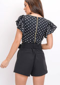 Polka Dot Frill Sleeve Crop Top Black
