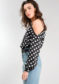 Polka Dot Long Sleeve Bardot Top Black