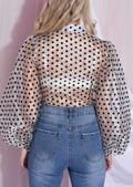 Polka Dot Organza Blouse Top Silver