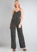 Polka Dot Tie Back Jumpsuit Black
