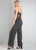 Polka Dot Tie Back Jumpsuit Black