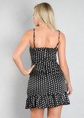 Polka Dot Tie Front Mini Dress Black