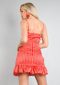 Polka Dot Tie Front Mini Dress Red