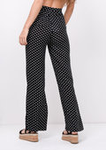 Polka Dot Wide Leg Trousers Black