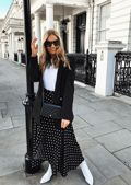 Polka DotWrap Thigh Split Midi Skirt Black