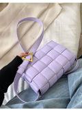 PU Braided Padded Crossbody Purses Box Bag Purple