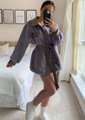 Oversized Pu Collared Fluffy Faux Mink Fur Belted Shacket Coat Brown