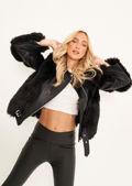 Pu Faux Leather Faux Fur Belt Strapped Biker Jacket Black