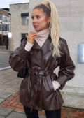 Faux Leather Pu Belted Double Breasted Trench Shacket Coat Brown
