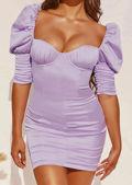 Puff Frill Shoulder Bodycon Mini Dress Purple
