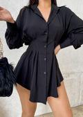 Puff Sleeve Button Down Cinched Waist Mini Shirt Dress black