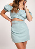 Puff Sleeve Gathered Cupped Tie Top A Line Skirt Co Ord Blue
