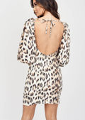 Puff Sleeve Leopard Print Mini Dress Beige