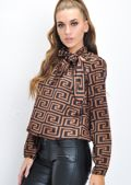 Pussybow Geometric Pattern Blouse Black