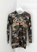 Queen Slogan Camouflage Longline Hoodie Green