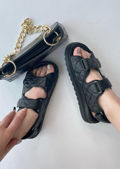 Quilted Adjustable Double Strapped Chunky Flat Sandals Black