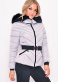 Quilted Faux fur Hooded Padded Belted Puffer Coat Grey