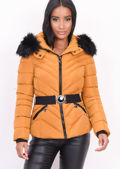 Quilted Faux fur Hooded Padded Belted Puffer Coat Mustard Yellow