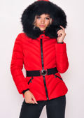 Quilted Faux fur Hooded Padded Belted Puffer Coat Red