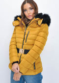Quilted Faux fur Hooded Padded Belted Panel Puffer Coat Mustard Yellow