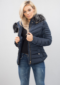 Quilted Faux Fur Hooded Padded Puffer Coat Navy Blue