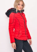 Quilted Faux Fur Hooded Padded Puffer Coat Red