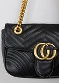 Quilted Gold Chain Shoulder Bag Black