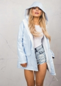 Waterproof Rain Mac Coat Festival  Hooded Jacket Light Blue