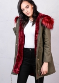 Red Faux Fur Hooded Fleece Parka Coat Khaki Green