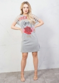 Red Rose Distressed Slogan T Shirt Dress Grey