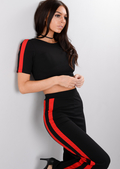 Red Side Stripe Tracksuit Crop Top Loungewear Set Black