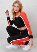 Red Stripe Crop Top Loungewear Set Co Ord Black