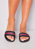 Red Stripe Flat Sliders Black