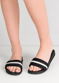 White Stripe Flat Sliders Black