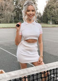 Ribbed Crop Polo Style Top Mini Skirt Co ord Set White
