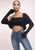 Knitted Cropped Cardigan Top and Strappy Cami Top Black