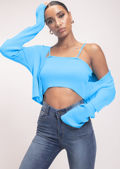 Knitted Cropped Cardigan Top and Strappy Cami Top Bright Blue